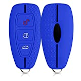 kwmobile Funda de Silicona Compatible con Ford Llave de Coche Keyless Go de 3 Botones - Carcasa Suave de Silicona - Case Mando de Auto Azul/Negro