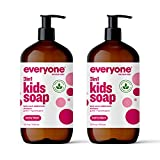 Everyone 3-in-1 Kids Soap, Body Wash, Bubble Bath, Shampoo, Coconut Cleanser with Organic Plant Extracts and Pure Essential Oils, Clear, Berry Blast, 32 Fl Oz, Pack of 2