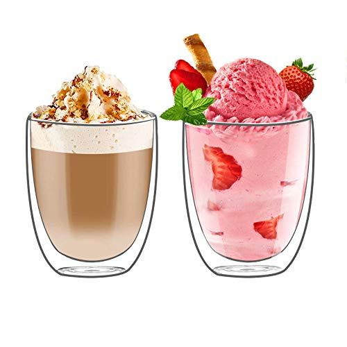 Topsky vidrio de café 2 x 350ml Vidrio de doble pared,Vidrio de doble café,vasos grandes de doble pared hechos de vidrio de borosilicato,vasos de té,vasos de café