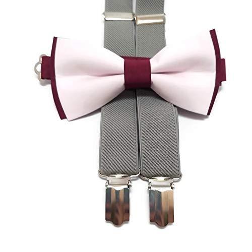 Burgundy blush DOUBLESIDED bow tie for wedding groomsmen skinny men/'s bowties ring bearer outfit groom flower girls hair bows dogcat bow tie