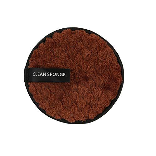 Démaquillage Éponge Flutter, Fulltime démaquillant serviette chiffon de nettoyage du visage pad en peluche bouffée paresseux double-face microfibre démaquillant puff (Marron)