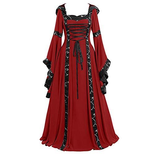 Lover-Beauty Medieval Vestido Largo de Estilo Victoriano Largo Gótico con Mangas Largas Llamaradas Vestido de Traje Renacentista Rojo Media
