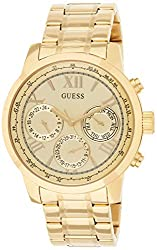 commercial Guess the classic gold stainless steel watch with day, date and 24-hour military / international symbols. fake guess watches