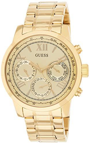 GUESS - Reloj clásico de pulsera de acero inoxidable dorado con día, fecha + hora militar 24 horas/hora internacional. Color: dorado (modelo: U0330L1)