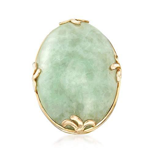 Ross-Simons 30x20mm Jade Ring in 18kt Gold Over Sterling