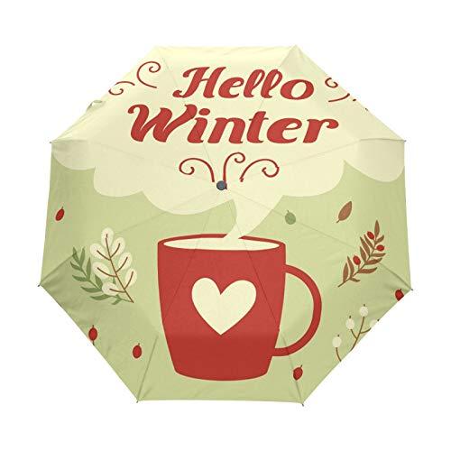 JinDoDo - Paraguas plegable automático, taza de café caliente, paraguas de lluvia, resistente al viento, protector solar para viajes, para mujeres, hombres, niñas y niños
