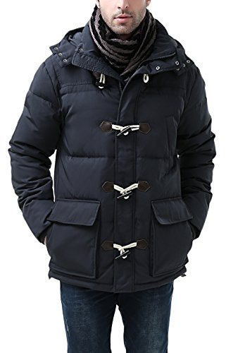 BGSD Men's Connor Hooded Waterproof Toggle Down Parka Coat Navy Large