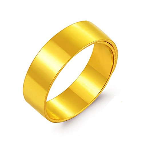 GOWE 24K Pure Gold Rings Female Male Couples Get Married On The Ring Wide Smooth Wedding Marry Got Engaged Wide Ring