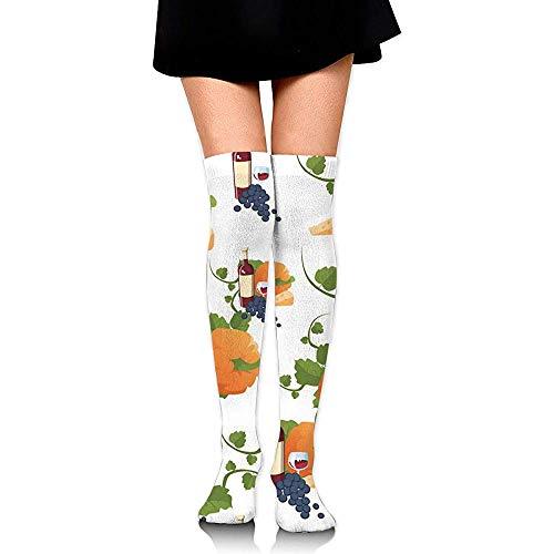 NA Herfst Happy Thanksgiving Day Compression Socks dijen hoge sokken over de kniesokken voor mannen vrouwen ondersteund