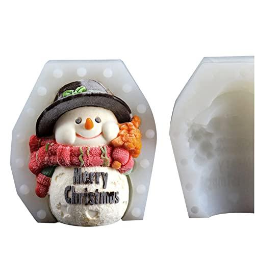 ACAREY Molde de silicona 3D con forma de muñeco de nieve para decoración de tartas, decoración para tartas, forma de vela, hecho a mano, para fondant, jabón, chocolate, decoración de tartas