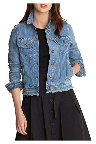 Karl Lagerfeld Paris Damen DENIM JACKET W FRINGE Jeansjacke, cool blue, XX-Small