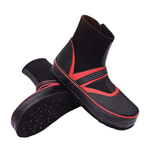 Willsky Zapatos De Pesca, Hombres Fell Sole Lluvia Botas Antideslizantes Transpirables Wader Pesca De Mar Pechos Al Aire Libre Zapatos De Agua,Rojo,44EU