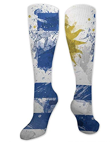 Calcetines deportivos largos con la bandera de Uruguay para hombre y mujer, talla única, 50 cm