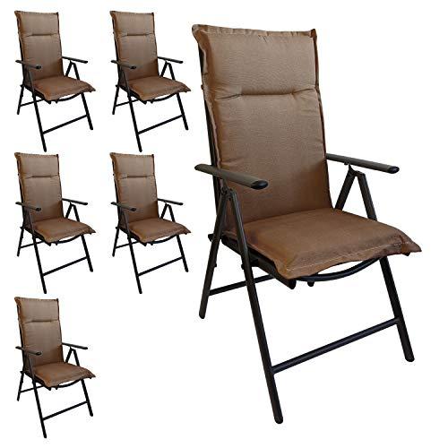 Multistore 2002 6er Set Elegante Gartenstuhlauflage Stuhlauflage Polsterauflage Hochlehner Taupe 120x45cm - 5cm dick Sitzauflage Sitzpolsterauflage Sitzkissenpolster