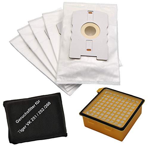 Filterset geeignet Vorwerk Tiger 260, 10 Microvlies-Beutel mit Schiebeverschluß, 1 Hygienefeinfilter, 1 Geruchsfilter von FSProdukte