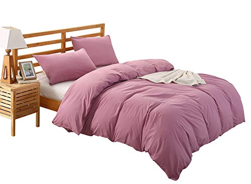 Colourful Snail 100-Percent Natural Washed Cotton Duvet Cover Set, Ultra Soft and Easy Care, Fade Resistant, Queen/Full, Rouge