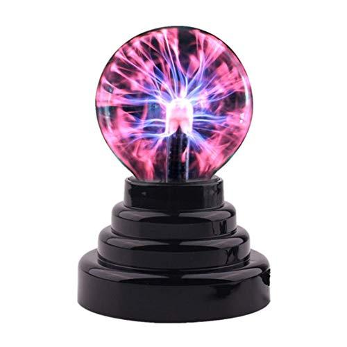 BiaBai Caja de lámpara USB de 3 pulgadas Lightning Magic Plasma Ball Retro Light Kids Christmas Party Cristal Regalo Decoración de la habitación
