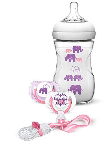 Philips Avent éléphants cadeau – Naturnah Bouteille, 2 Tétines, attache sucette
