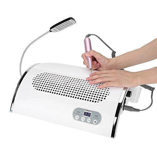 3 in 1 Nagel Staubsammler, Elektrische Nagel Bohrmaschine mit LED UV Trockner Lampe & 72 Watt Nagel Staubsauger Nagel Aushärtemaschine Nagelfeile Maniküre Werkzeug für Nagelstudio(EU)