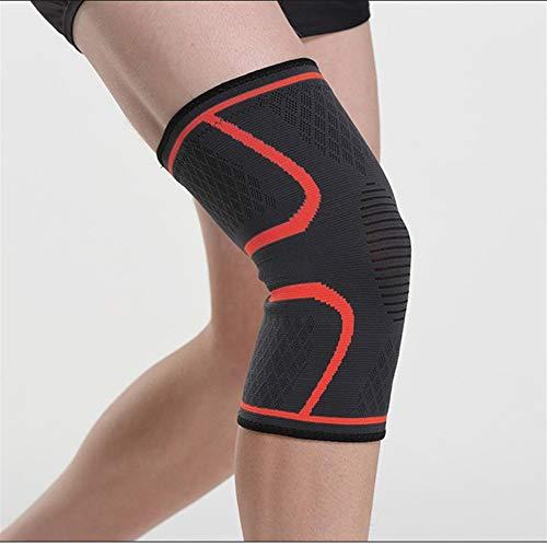 Kniebandage 1 stück Nylon Elastische Sport Knieschützer Atmungsaktive Kniestütze Laufen Fitness Wandern Radfahren Knieschützer Knee Active Plus (Color : Red, Size : M)