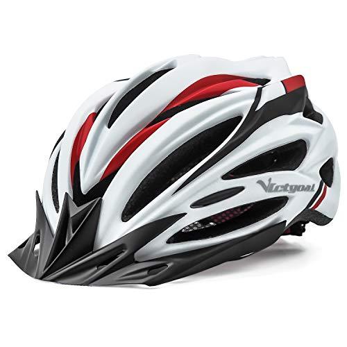VICTGOAL Fahrradhelm Herren Damen MTB Mountainbike Helm mit Visier Abnehmbarer Sonnenschutzkappe und LED licht Radhelm Fahrradhelme für Erwachsenen 57-61 cm (Weiß)