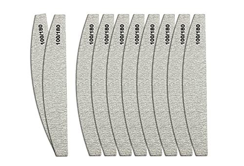 Zebra Halbmond Nagelfeilen Set für Acryl und Gelnägel 100/180 Körnung Doppelseitig (50er-Set)