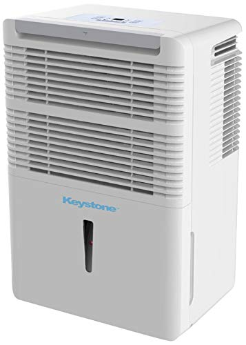 Keystone KSTAD50B Energy Star 50-Pint Portable Dehumidifier for 3000 Sq. Ft. with 6.4-Pint Bucket Capacity and Full Bucket Alert, White (Renewed)