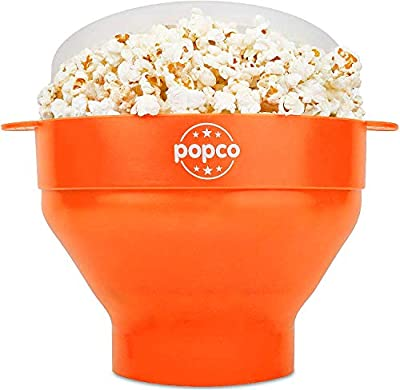 The Original Popco Silicone Microwave Popcorn Popper with Handles, Silicone Popcorn Maker, Collapsible Bowl Bpa Free and Dishwasher Safe - 15 Colors Available (Orange)
