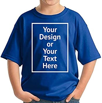 Custom Shirt for Kids Boys Girls Personalized Your Own Image Photo Text T-Shirt Front/Back Print Blue M