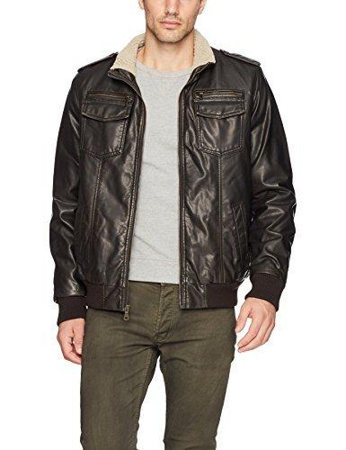 Tommy Hilfiger Men's Vintage Deer Sherpa Aviator Bomber Jacket, dark brown, XX-Large