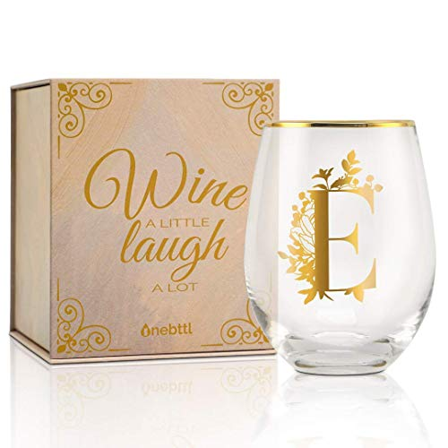 Onebttl All-Purpose Stemless Wine Glasses, Initial Wine Cup for Red or White Wine - Monogram - Gifts for Women, Girls, Female, Her, Friends, Coworkers, Clients - for Birthday, Christmas