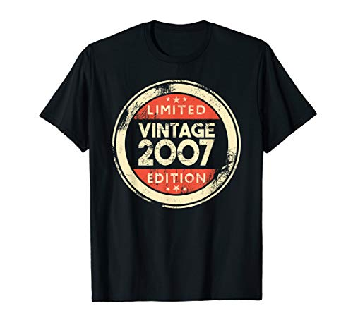 14 Year Old Boys Girls Gift 14th Birthday Gifts Vintage 2007 T-Shirt