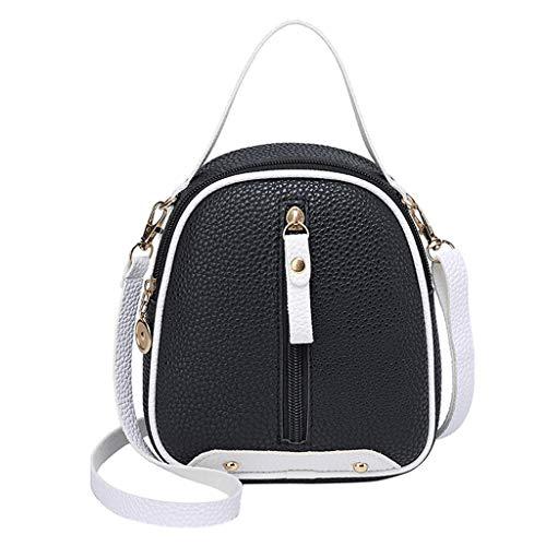 COZOCO Frauen Mode Schultertaschen kleine Rucksack Geldbörse Handy Messenger Bag Flap Handy Tasche(schwarz,)