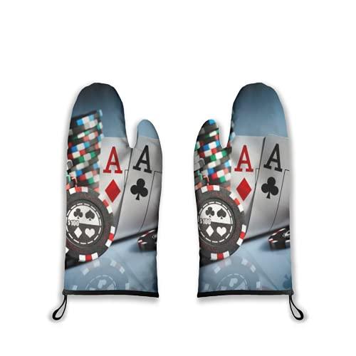Manoplas para Horno,2 Piezas,fichas de Juego de torneos de póquer y Tarjetas de Pares Aces Casino,Juegos de apuestas,Guantes de Barbacoa con Almohadillas Calientes Resistentes al Forro Acolchado