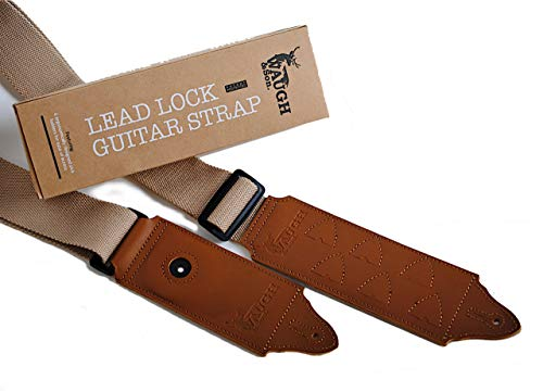 Waugh & Son Guitar Locking Strap with Pick Holder - Lock Guitar Neck Strap for Electric or Bass - 100% Cotton with Leather Ends - Unique Guitar Gifts for Men