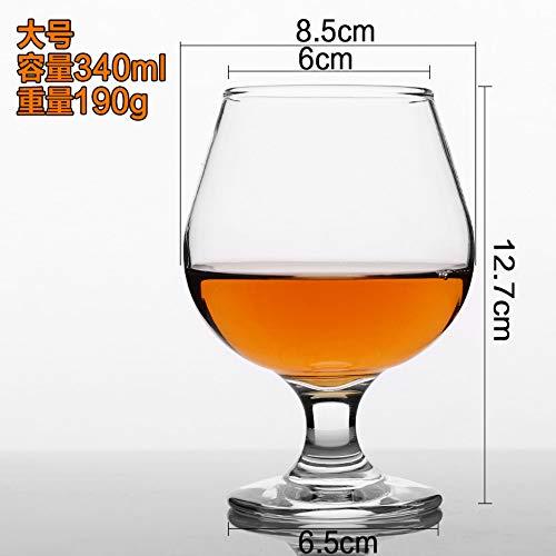 Luxury glass Brandy Cup met hoge voet, rode wijnbeker met korte voet, fijne cognac-beker, loodvrije glazen beker met grote buik, 340 ml, groot 2