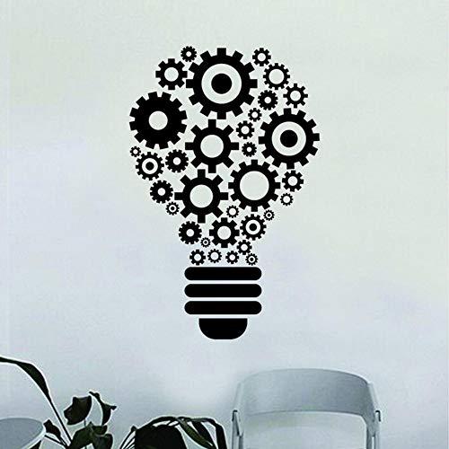 Lightbulb Gears Vinile Adesivo Adesivo Motivo Decorativo Scuola Aula Scienza Lavoro Ufficio Arte Murale Carta Da Parati 57X88Cm