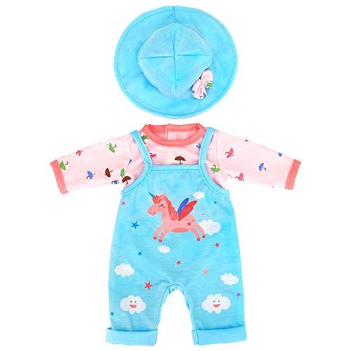 ZWOOS Puppenkleidung für New Born Baby Doll, Einhornmuster Outfit mit Hut für 18
