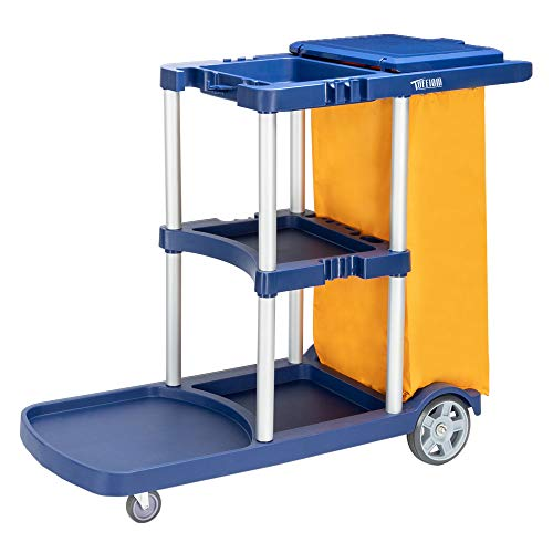 TUFFIOM Commercial Traditional Cleaning Janitorial 3-Shelf Cart, 500 Lbs Capacity Housekeeping Cart, 42.5