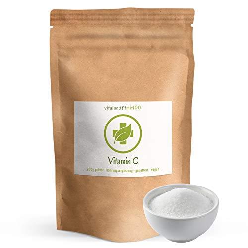 Vitamin C Pulver 200 g - gepuffert als Calciumascorbat - besonders magenfreundlich - in geprüfter Qualität - 100% vegan - glutenfrei, lactosefrei -OHNE Hilfs- u. Zusatzstoffe