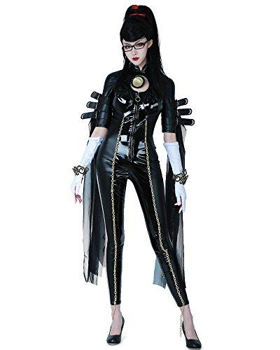 miccostumes Women's Witch Cosplay Bodysuit Halloween Costume with Gloves Headband (S) Black