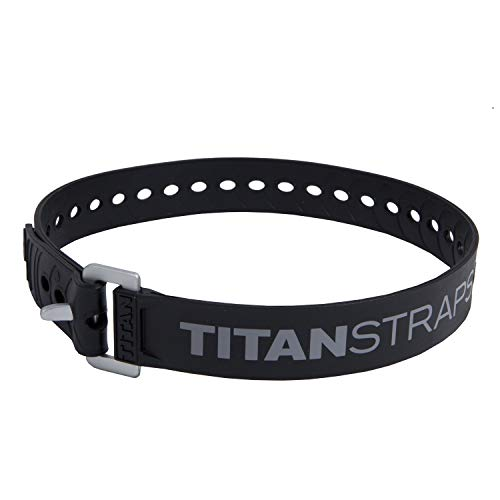 """Titan Industrial Straps – Safety Strap Set to Secure Splits, Cargo Bikes, Garden Hoses, Wood Working Projects – 70 lb. Working Load, 25"""" Length, Black, 2-Pack"""