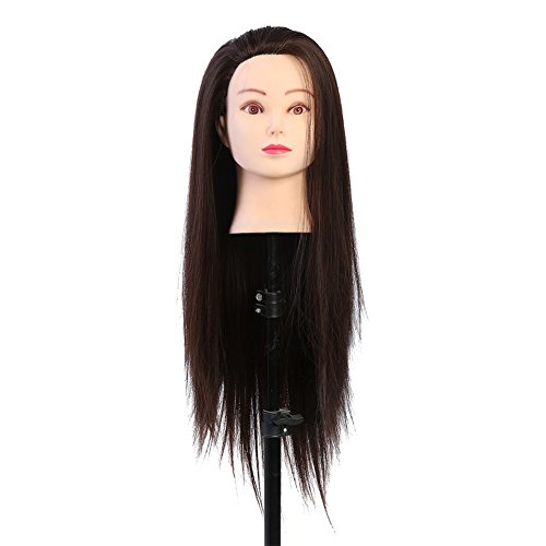 Training Head, Makeup Practice Head Hair Styling Manikin Cosmetology Doll Head Synthetic Fiber Hair Hairdressing Training Model with free Clamp, Blond Dark Brown