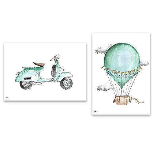 Lilcastle Kinder Baby Poster 30x40 cm | 2er Set Bilder Kinderzimmer Deko Junge | Mint Scooter Motorrad Vespa und Ballon | Toll Dekoration Jungenzimmer Babyzimmer