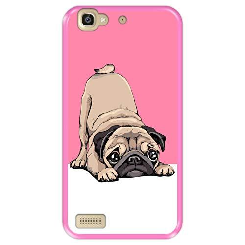 Funda Rosa para [ Huawei P8 Lite Smart - GR3 ] diseño [ Cachorros Beige Pug posando 2 ] Carcasa Silicona Flexible TPU
