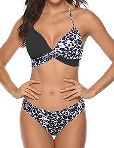 costume da bagno donna leopardato JFAN Donna Costume da Bagno Push Up Imbottito Reggiseno Bikini Donna 2 Pezzi Swimwear Abiti da Spiaggia Leopardo Nero L