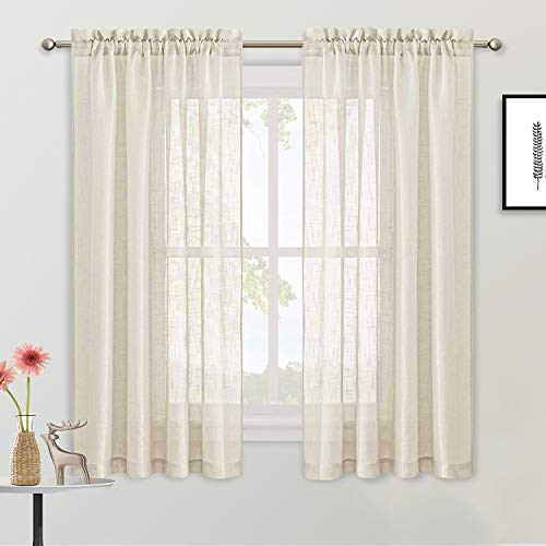 ALLJOY 2 Panels Home Kitchen Curtains, Light Filtering Voile Short Sheer Window Treatments Curtains, Rod Pocket Linen Textured Privacy Sheer Drapes for Bedroom Windows/Living, Beige, W52 x L63 Inch