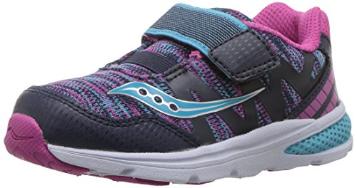 SAUCONY Saucony Kids' Baby Ride Pro Running-Shoes,Navy/Multi,4 Wide US Toddler