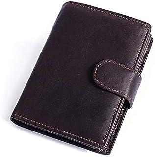 YXHM AU Men's Leather Wallet Short Crazy Horse Leather Retro 2 Fold Buckle Men's Wallet (Color : Coffee)