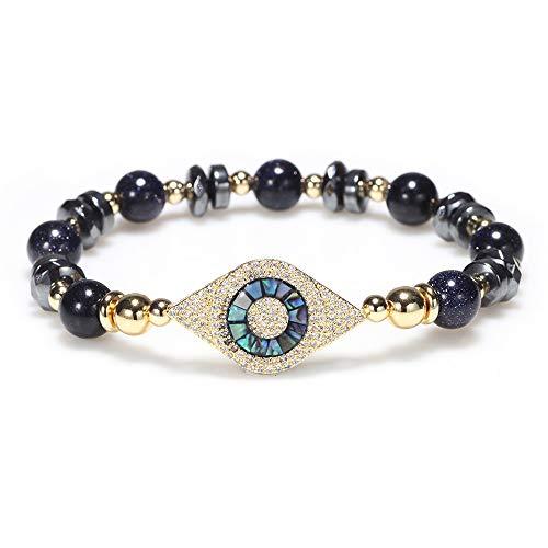 MSTOT armband van kristal, mono-ring van natuursteen, armband met oog overdragen zirkonia